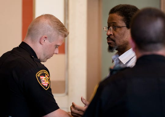 """Convicted serial killer Anthony Kirkland, 49, is led out of the courtroom during his re-sentencing on Friday Aug. 3, 2018, at the Hamilton County Courthouse in Cincinnati. Kirkland is was convicted of the deaths of Casonya """"Sharee"""" Crawford, 14, in 2006 and Esme Kenney, 13, in 2009. He is serving a life sentence in two other murders."""