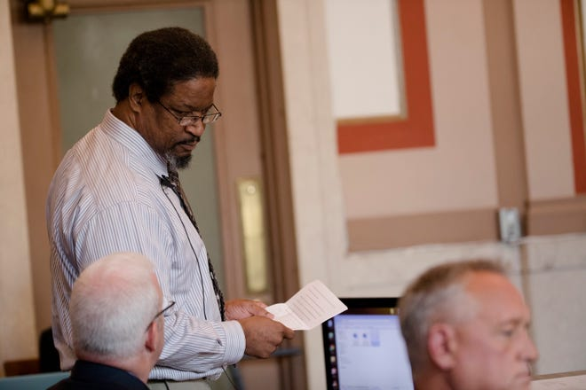 "Convicted serial killer Anthony Kirkland, 49, reads a statement during his re-sentencing on Friday Aug. 3, 2018, at the Hamilton County Courthouse in Cincinnati. Kirkland is was convicted of the deaths of Casonya ""Sharee"" Crawford, 14, in 2006 and Esme Kenney, 13, in 2009. He is serving a life sentence in two other murders."