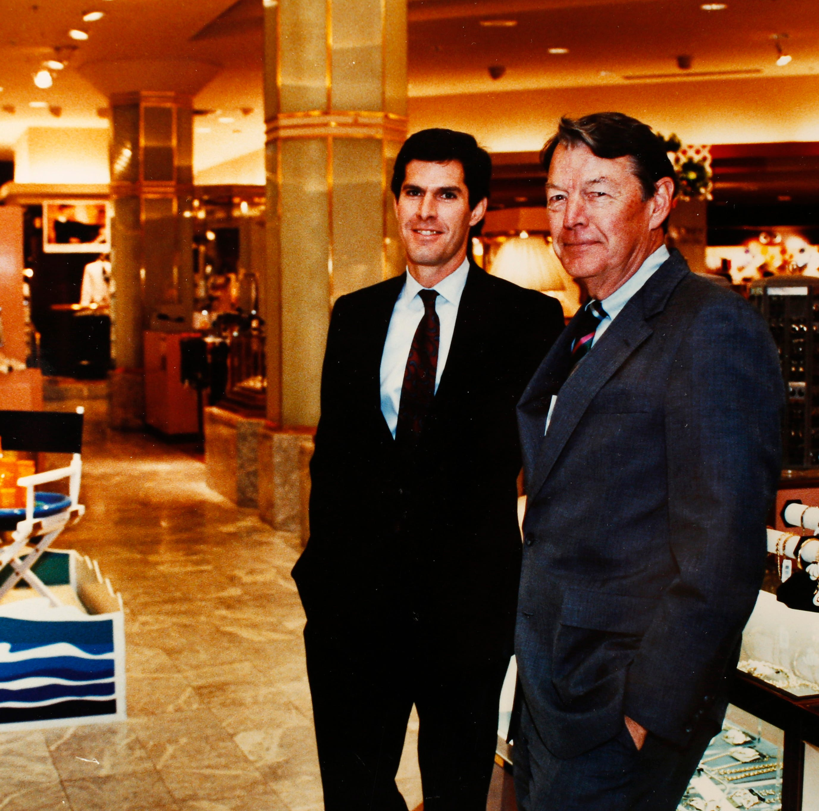 Fred Hubbell (left) and Jim Hubbell, Jr., at the downtown Younkers department store May 31, 1989 in Des Moines.