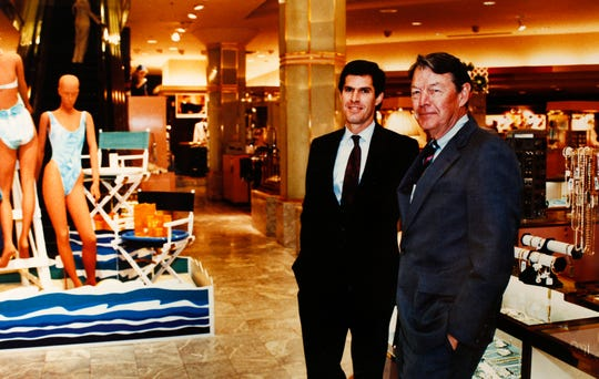 Fred Hubbell, left, and Jim Hubbell Jr. at the downtown Younkers department store May 31, 1989, in Des Moines.