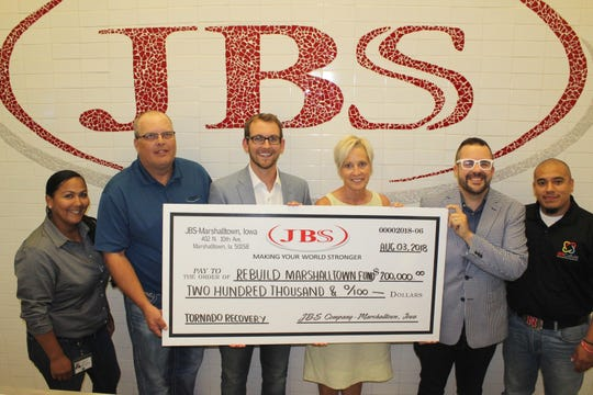 JBS USA,who employs 2,300 people at their Marshalltown pork facility, announced$1 million in aid to their employees and the community's rebuilding efforts following the July tornado.