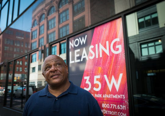 Mark Clark, former owner of the Clark Lofts in front of 35 W. Grand River Avenue in Detroit, on July 17, 2018.