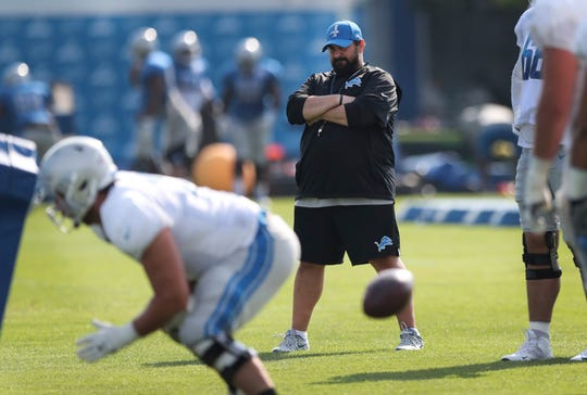 Detroit Lions head coach Matt Patricia watches practice Friday, Aug. 3, 2018, in Allen Park.