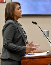 Malaika Ramsey-Heath of the State Appellate Defender office in Detroit argues that Judge Rosemarie Aquilina should recuse herself from the appeal hearing of Larry Nassar's sentencing.
