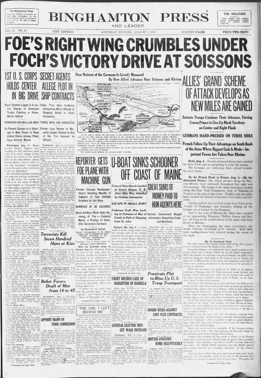 Press And Sun Bulletin Sat Aug 3 1918