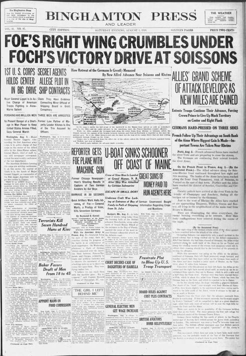 Press And Sun Bulletin Sat Aug 3 1918