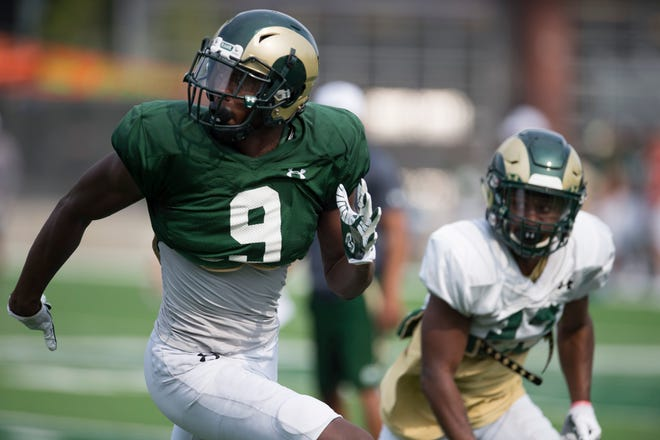 Receiver Warren Jackson, a sophomore shown during Thursday's practice, was the obvious star Saturday in CSU's first preseason scrimmage. He caught four passes for 67 yards and two touchdowns.