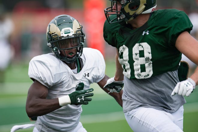 CSU freshman Rashad Ajayi in a training camp practice earlier in August. Coach Mike Bobo said Ajayi performed well in a closed scrimmage on Saturday.