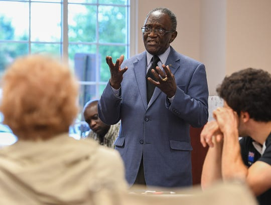 Robert Jenkins, Sr. speaks during a neighborhood meeting Thursday, August 2, 2018 in Greenville to discuss the proposed townhouse project on his property at 214 North Leach Street in downtown Greenville.