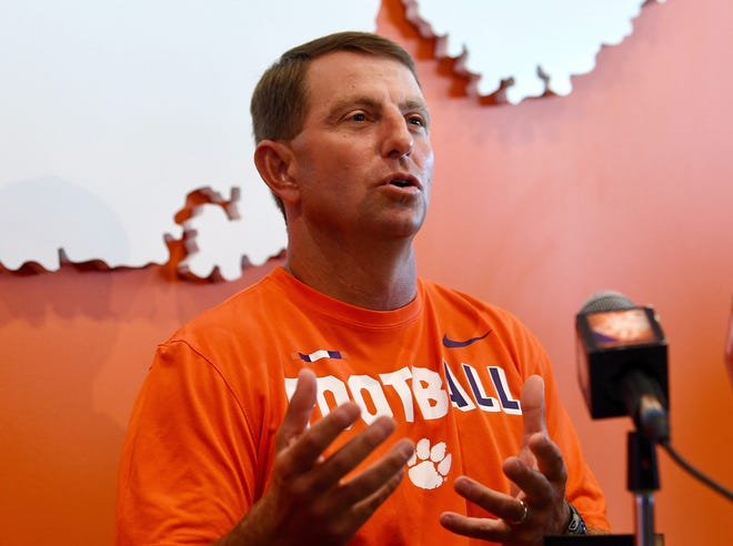 Clemson head coach Dabo Swinney answers questions before the Tigers first practice Friday, August 3, 2018.