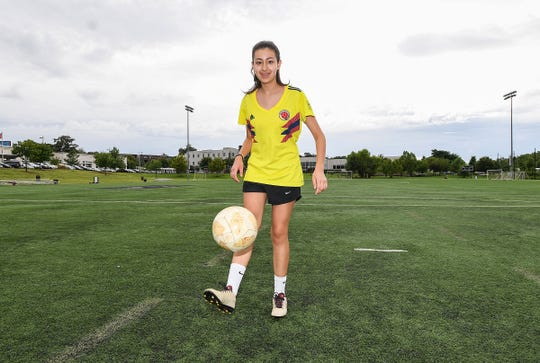 Sophia Coronado, 14, poses on the soccer fields at the Kroc Center in downtown Greenville Thursday, August 2, 2018. Coronado just launched an initiative, called Equal Juego, that is aimed at helping gather soccer gear/supplies and collect donations for kids who can't afford it.