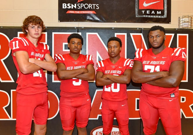 Coming off a region championship, Greenville will count on senior leadership from (left to right) quarterback Davis Beville, defensive end Reggie Norris, running back Collin Wakefield and offensive lineman Stephon Stokes.