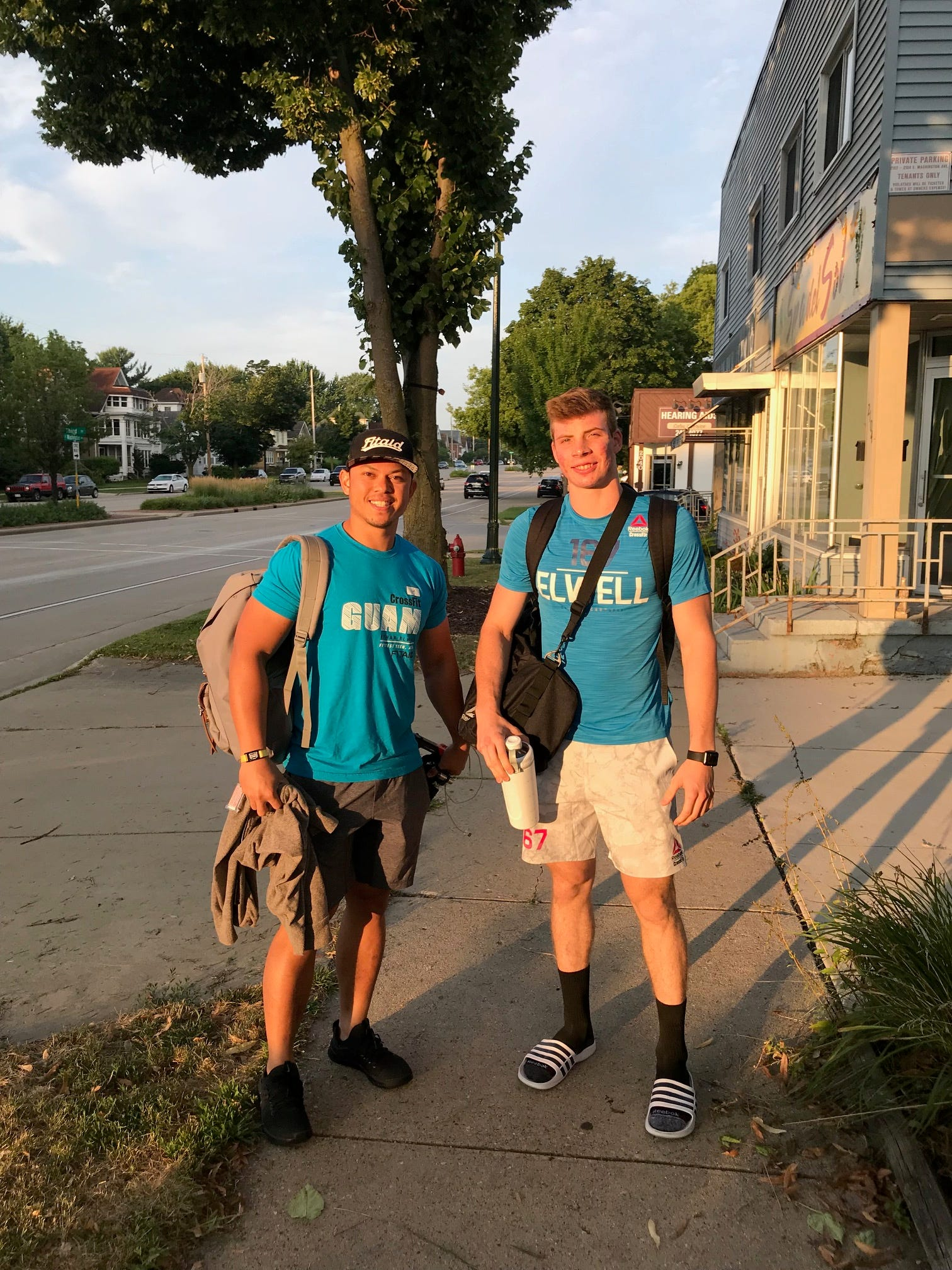 Coach Caleb Barretto, left, and athlete Ethan Elwell are in Madison, Wisconsin for the Reebok CrossFit Games 2018, where Elwell is one of the top 20 in the world in the 16-17 age group. Ranked No. 7 going into the contest, Elwell stands at No. 2 after finishing three of five fitness tests.