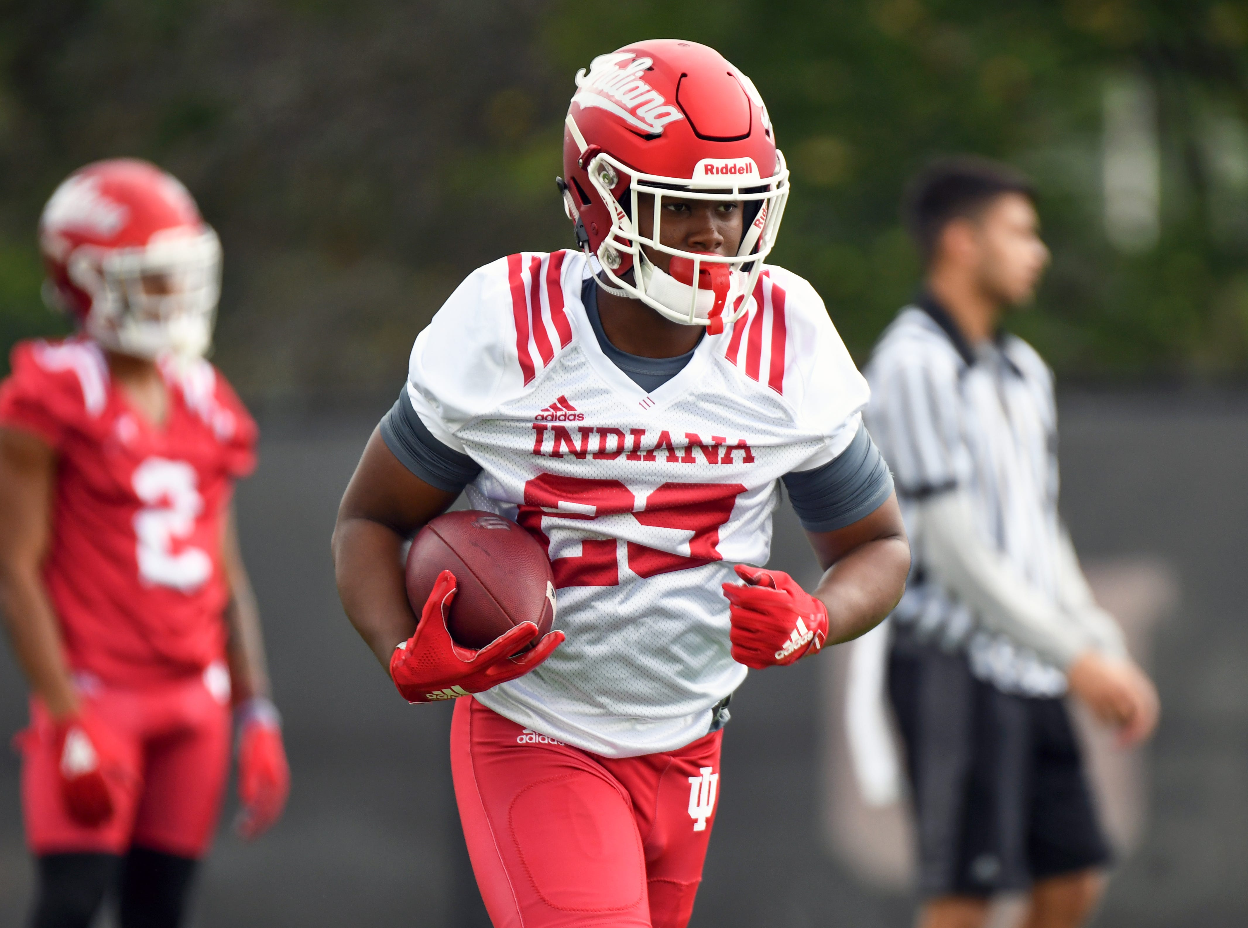 Indiana Hoosiers running back Ronnie Walker Jr. (23) participates in drills during IU's practice at Mellencamp Pavilion in Bloomington, Ind., on Friday, August 3, 2018.