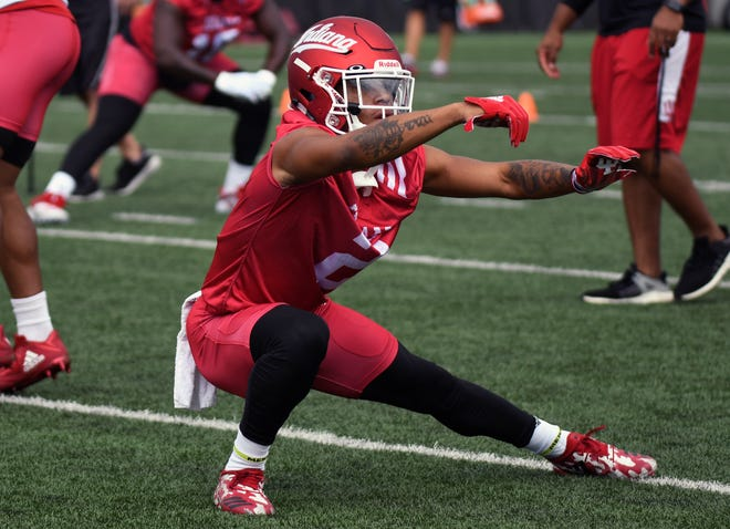 Indiana Hoosiers athlete Reese Taylor (2) stretches during IU's practice at Mellencamp Pavilion in Bloomington, Ind., on Friday, August 3, 2018.