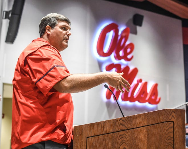 Ole Miss head coach Matt Luke speaks during NCAA college football media day at the Manning Center, in Oxford, Miss., Thursday, Aug. 2, 2018. (Bruce Newman/The Oxford Eagle via AP)