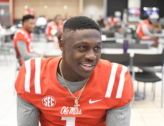 Ole Miss wide receiver A.J. Brown is interviewed during NCAA college football media day at the Manning Center in Oxford, Miss., Thursday, Aug. 2, 2018. (Bruce Newman/The Oxford Eagle via AP)