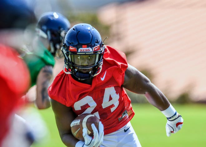 Ole Miss running back Eric Swinney runs during NCAA college football practice in Oxford, Miss., Friday, Aug. 3, 2018.  (Bruce Newman, Oxford Eagle via AP)