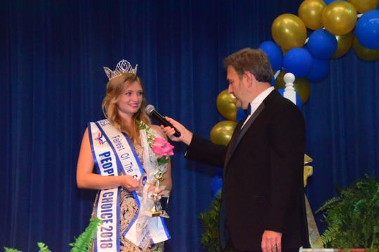 """The new 2018 Fairest of the Fair, Maria Kasipovic, is asked """"What will you do now that you are crowned Miss Fairest of the Fair?"""" by emcee Frank Murphy of WNOX 93.1. She said she planned to use her position for community service. July 28, 2018"""