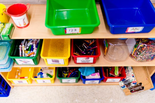 Art supplies in Patricia Galicki's kindergarten room at Sam E. Hill Primary School in the Lonsdale community in Knoxville, Tennessee on Friday, August 3, 2018. The school has newly transitioned from a preschool into a primary school.