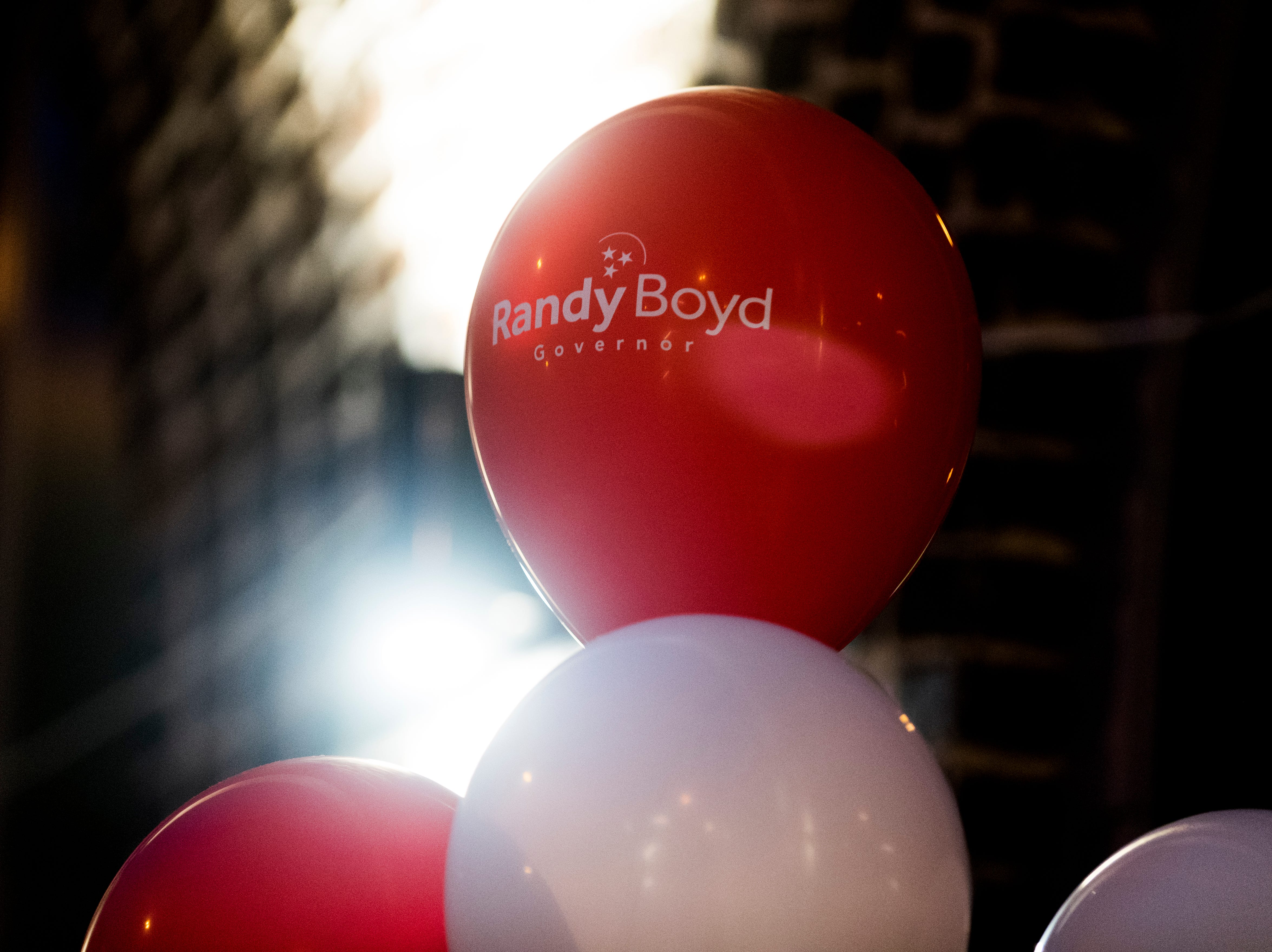 Randy Boyd balloons greet supporters at the entrance to the Randy Boyd for Governor watch party at Jackson Terminal in Knoxville, Tennessee on Thursday, August 2, 2018.