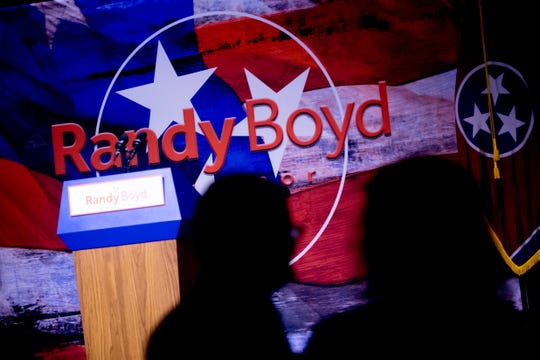 Supporters mill about at the Randy Boyd for Governor watch party at Jackson Terminal in Knoxville, Tennessee on Thursday, August 2, 2018.