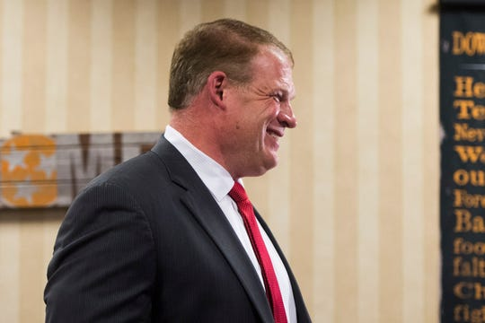 Glenn Jacobs reacts to early results predicting him Knox County Mayor at the Crowne Plaza on election day in Knox County Thursday, Aug. 2, 2018.