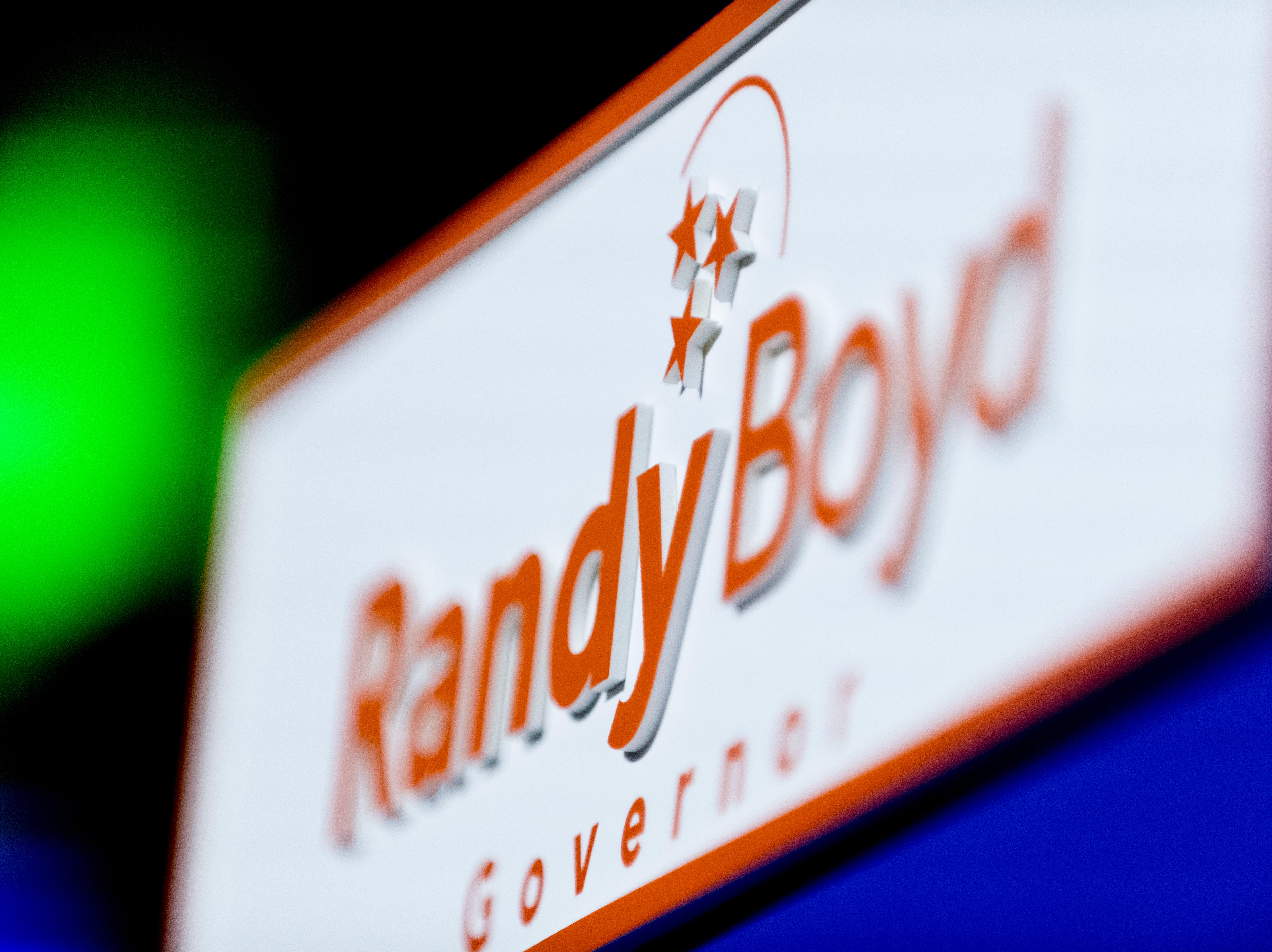 The Randy Boyd for Governor logo is seen at the Randy Boyd for Governor watch party at Jackson Terminal in Knoxville, Tennessee on Thursday, August 2, 2018.