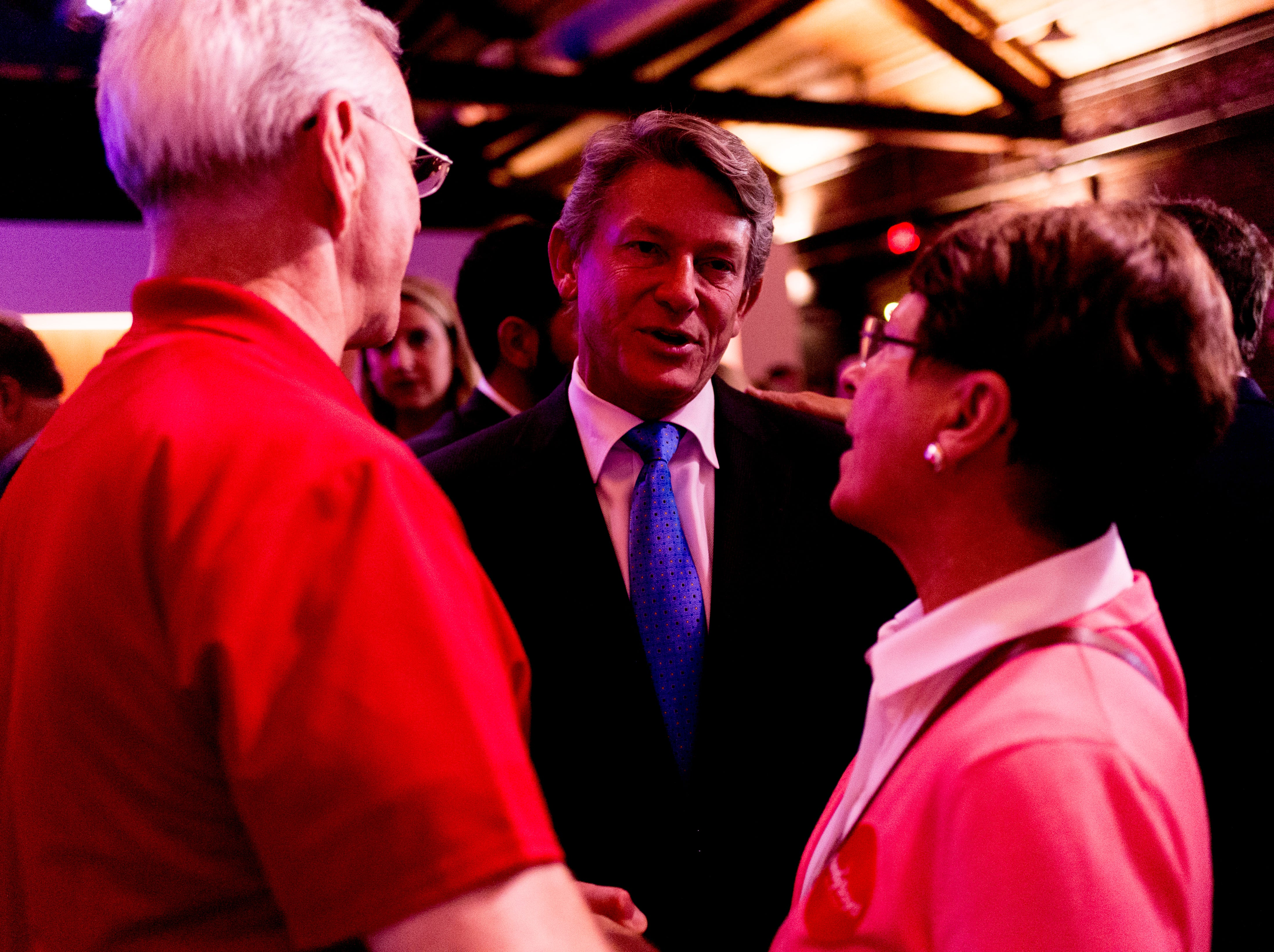 Randy Boyd meets with some of his supporters at his watch party at Jackson Terminal in Knoxville, Tennessee on Thursday, August 2, 2018.