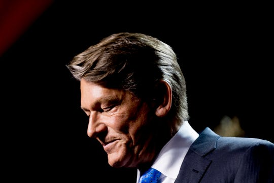 Randy Boyd bites back tears while speaking at his watch party at Jackson Terminal in Knoxville, Tennessee on Thursday, August 2, 2018.