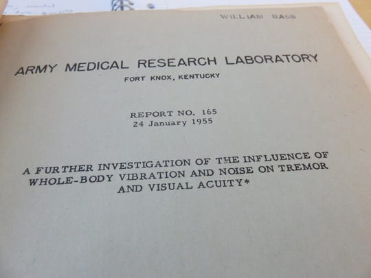 Dr. Bill Bass' first published paper came while in the Army and cost him partial hearing loss.
