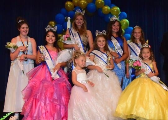 The 2018 Fairest of the Fair court. Pictured front are Elizabeth Rogers, 10, Princess; Abbey Horton, 3, Tiny Miss; Ella Riggs, 9, Young Miss; Pacey Brockwell, 5, Little Miss; back, Kiley Newcomb, 14, Judges Choice; Maria Kasipovic, 17, Fairest of the Fair; Meredith McNeeley, 15, Junior Miss; Lexi Hensley, 12, Miss Community Service. The event was July 28 at Karns High School.