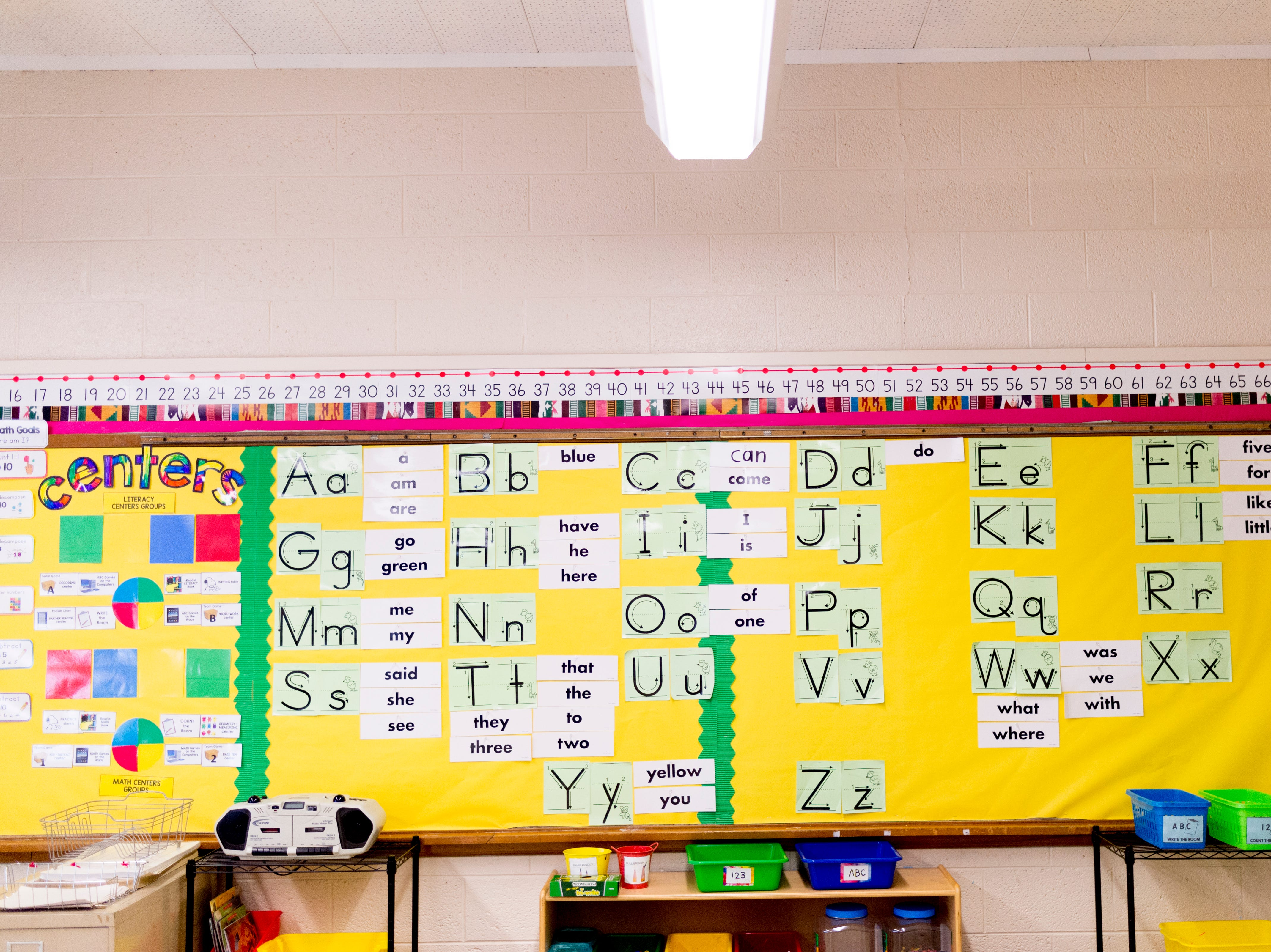 The alphabet is seen on the wall in Patricia Galicki's kindergarten room at Sam E. Hill Primary School in the Lonsdale community in Knoxville, Tennessee on Friday, August 3, 2018. The school has newly transitioned from a preschool into a primary school.