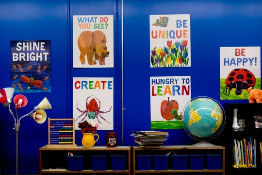 Colorful posters hang on the wall in Patricia Galicki's kindergarten room at Sam E. Hill Primary School in the Lonsdale community in Knoxville on Aug. 3, 2018. The school has newly transitioned from a preschool into a primary school.