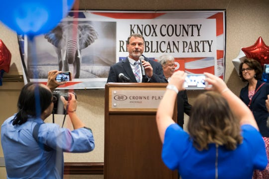 Randy Smith speaks to the crowd after being re-elected  3rd District Knox County Commissioner at the Crowne Plaza on election day in Knox County Thursday, Aug. 2, 2018.