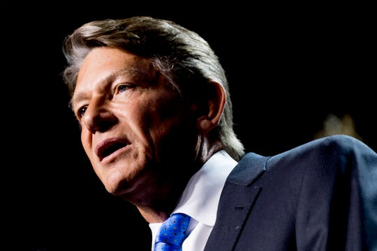 Randy Boyd speaks with tears in his eyes at his watch party at Jackson Terminal in Knoxville, Tennessee on Thursday, August 2, 2018.