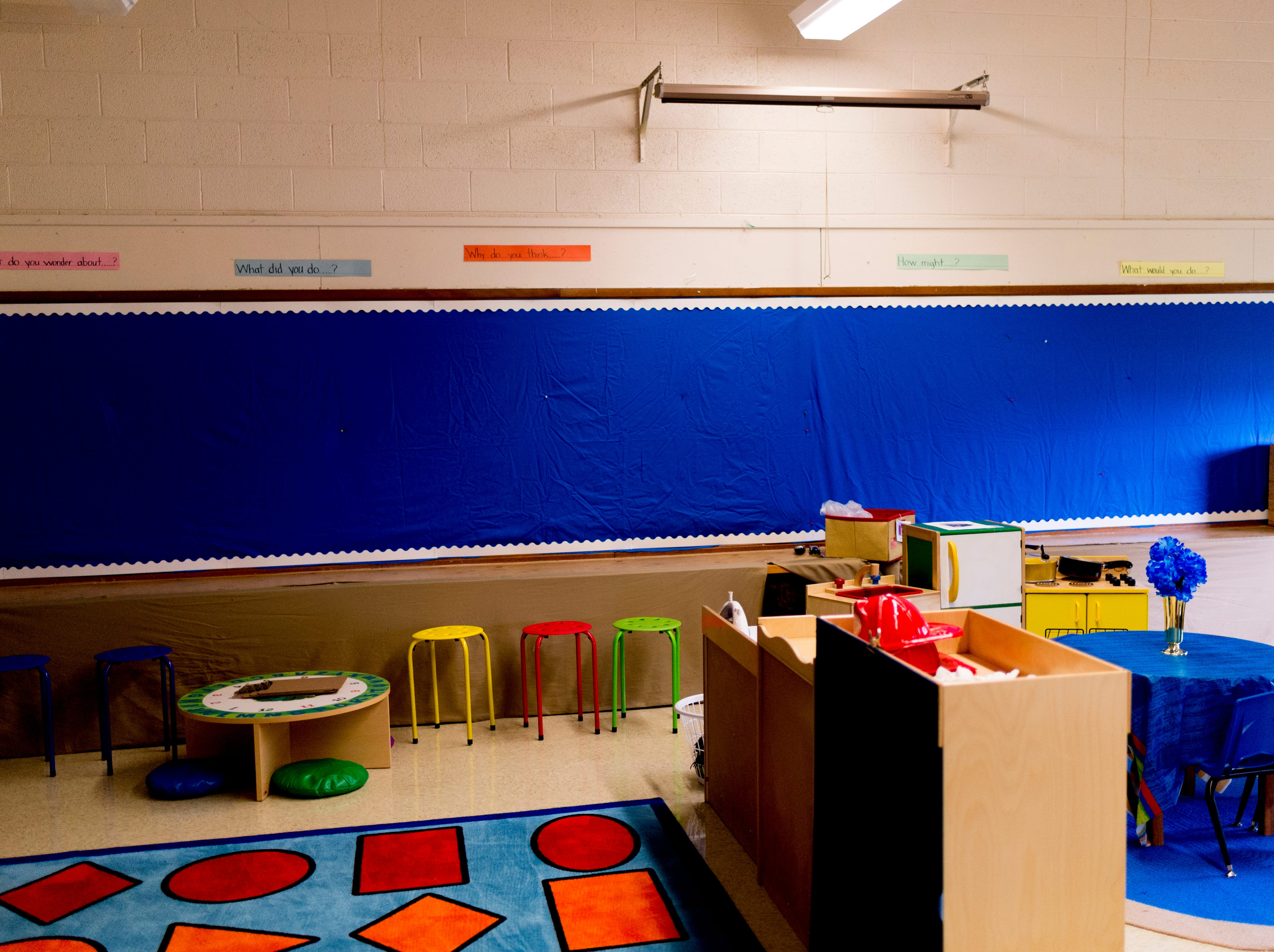 A kindergarten room awaits students at Sam E. Hill Primary School in the Lonsdale community in Knoxville. The school has newly transitioned from a preschool into a primary school.