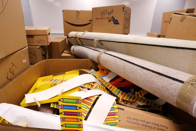 Classroom supplies remain boxed in room 111 as renovation work continues Tuesday, July 30, 2018, at Cumberland Elementary School in West Lafayette.