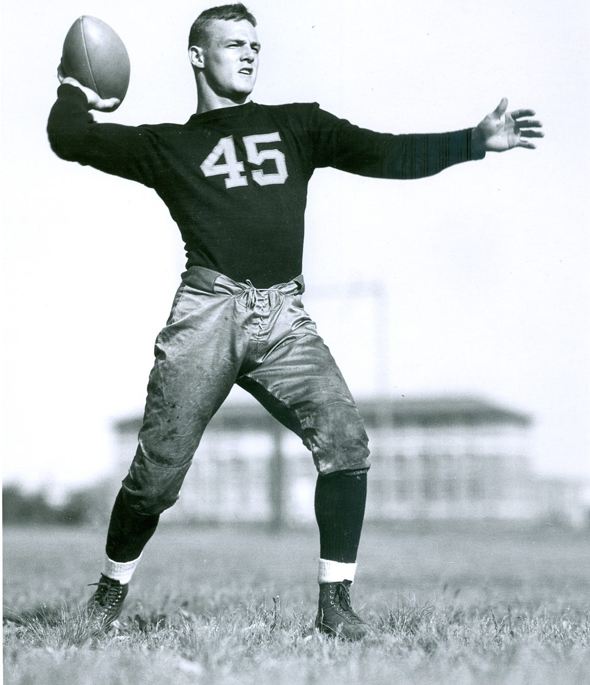 Duane Purvis, before switching his jersey number to 42, was an All-American in track and field in addition to football.