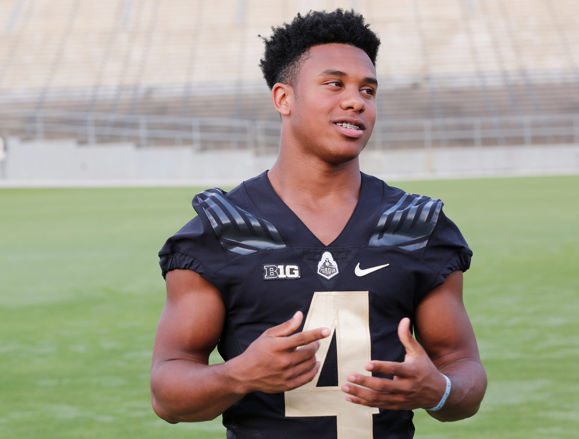 Freshman wide receiver Rondale Moore speaks with membes of the media during Purdue football media day Friday, August 3, 2018, at Ross-Ade Stadium.