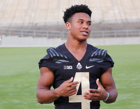Freshman wide receiver Rondale Moore speaks with members of the media during Purdue football media day Friday, August 3, 2018, at Ross-Ade Stadium.
