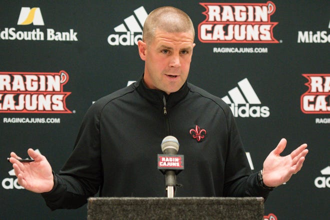 UL head football coach Billy Napier speaks to members of the media at the  Ragin' Cajuns Football Media Day Thursday, Aug. 2, 2018.
