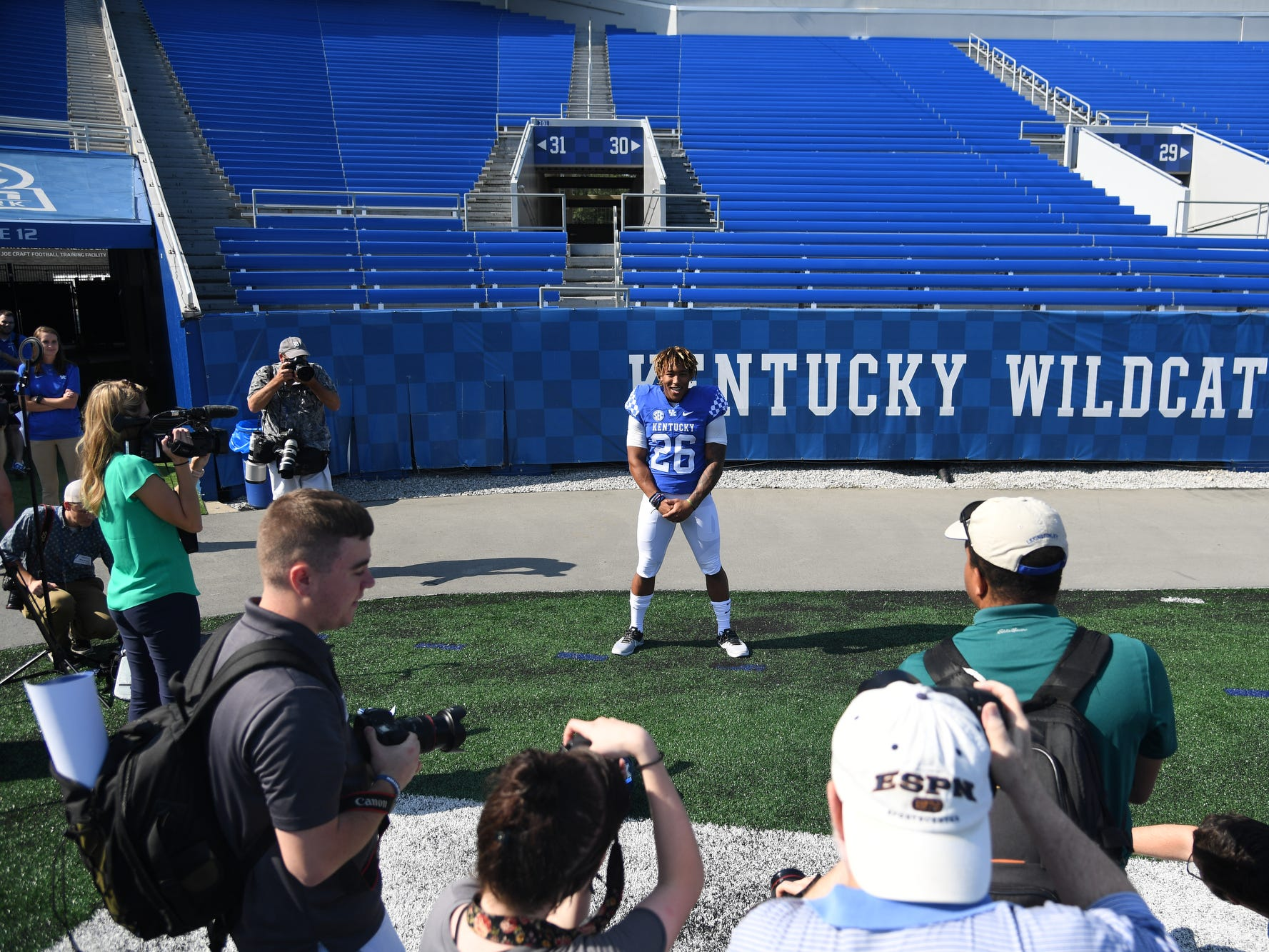RB Benny Snell, Jr. during the UK football media day at Kroger Filed in Lexington, Kentucky on Friday, August 3, 2018.