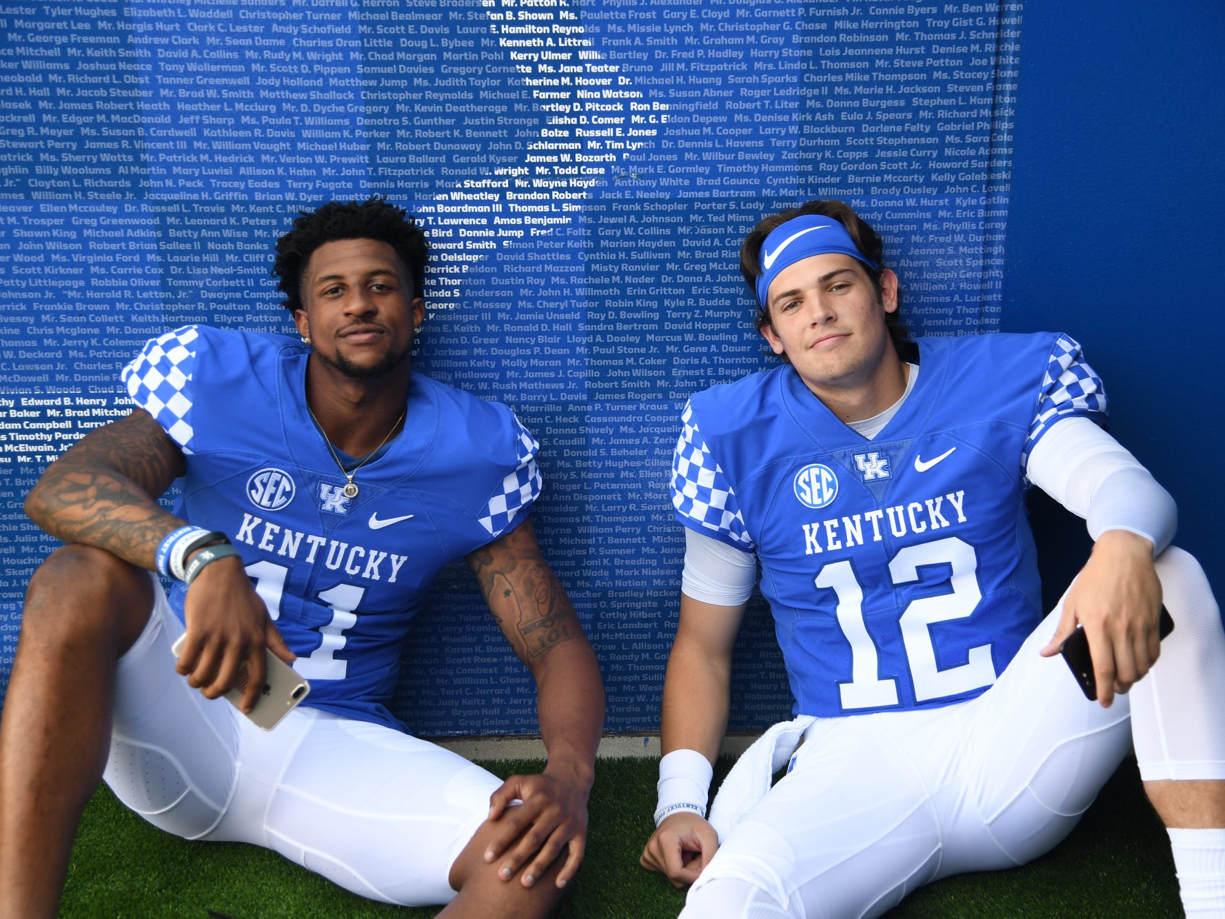WR Tavin Richardson and QB Gunnar Hoak during the UK football media day at Kroger Filed in Lexington, Kentucky on Friday, August 3, 2018.