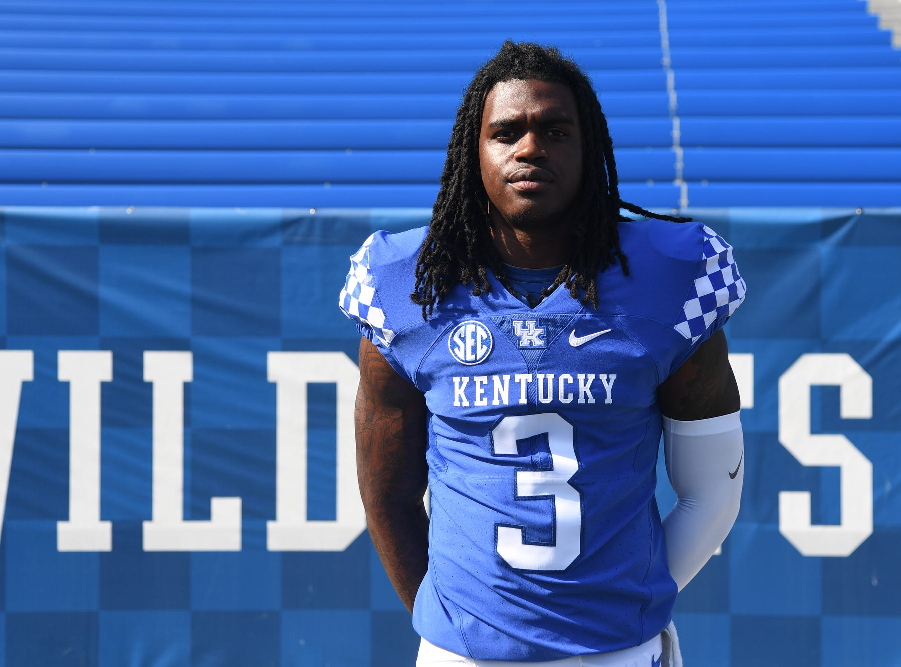QB Terry Wilson during the UK football media day at Kroger Filed in Lexington, Kentucky on Friday, August 3, 2018.