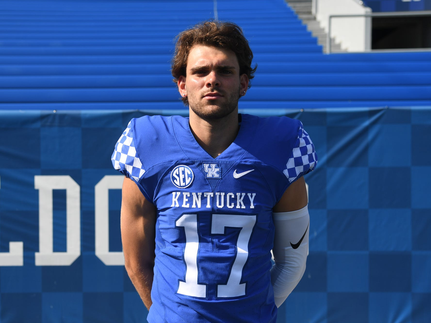 QB Walker Wood during the UK football media day at Kroger Filed in Lexington, Kentucky on Friday, August 3, 2018.