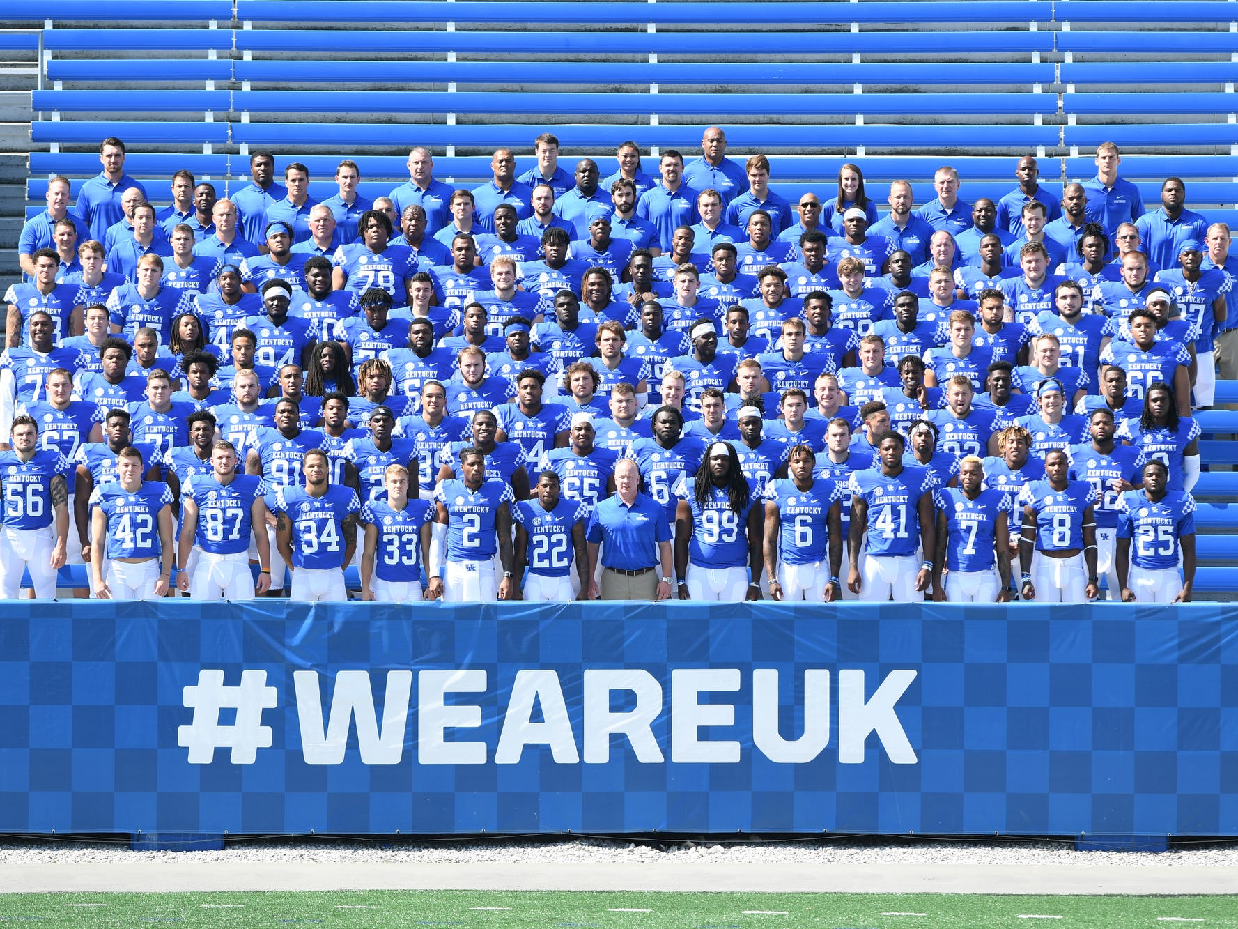 Team photograph during the UK football media day at Kroger Filed in Lexington, Kentucky on Friday, August 3, 2018.