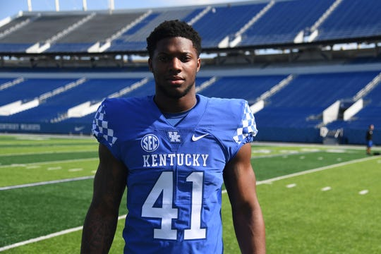 LB Josh Allen during the UK football media day at Kroger Filed in Lexington, Kentucky on Friday, August 3, 2018.