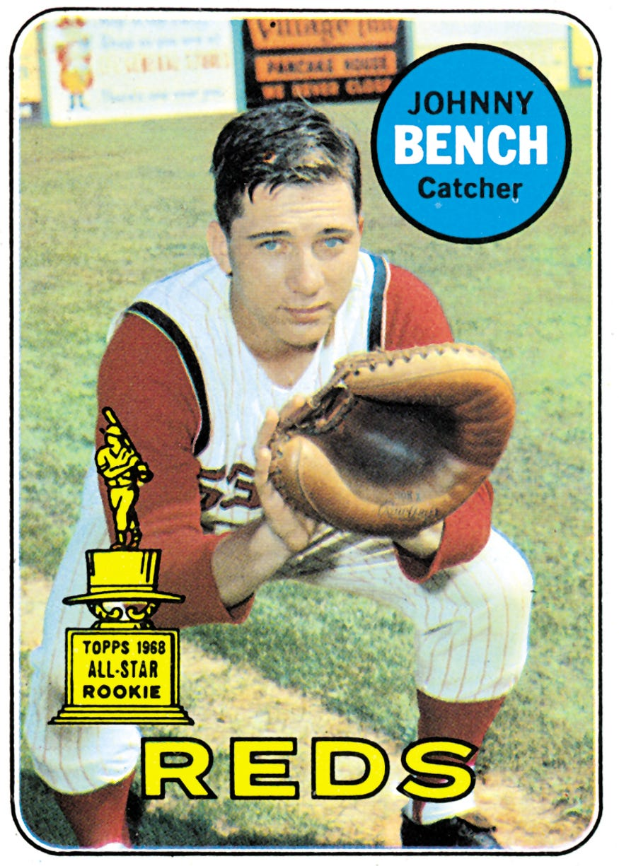 REPRINT Johnny Bench 1968 Topps BASEBALL Rookie Card #247 Cincinnati Reds