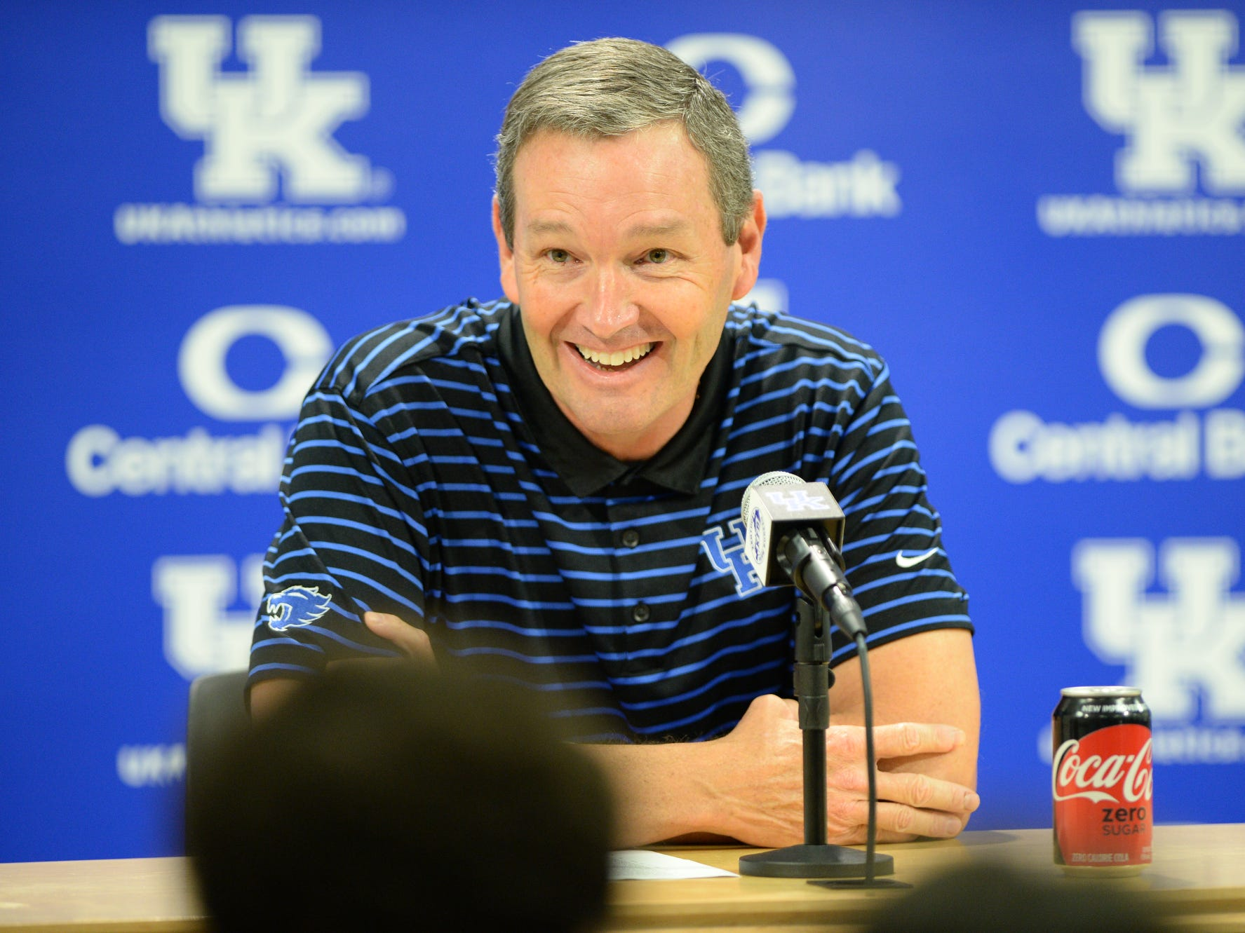 Athletic Director Mitch Barnhart holds a press conference during the UK football media day at Kroger Filed in Lexington, Kentucky on Friday, August 3, 2018.